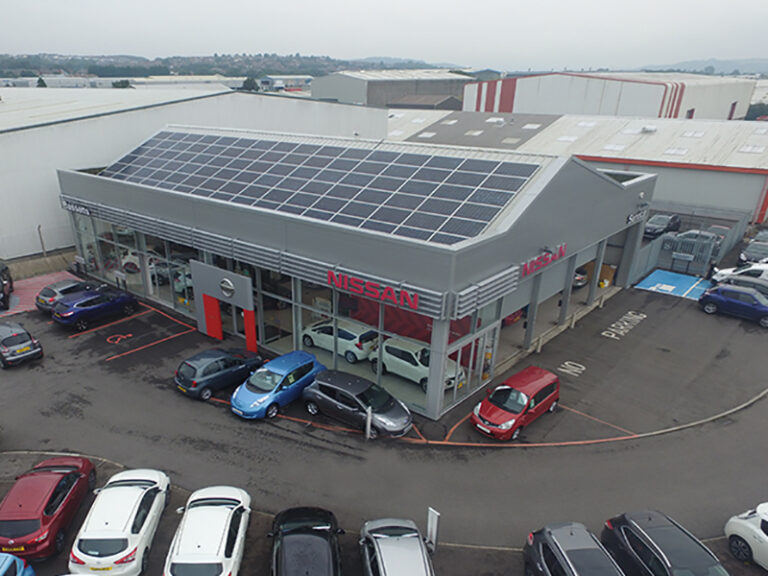 Bassetts Nissan car showroom from above showing Solar PV